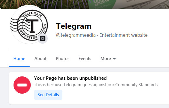 Facebook kustutas Telegrami lehekülje