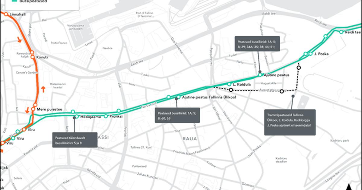 Poska tänava uuendamine katkestab ajutiselt Kadrioru trammiliinide töö