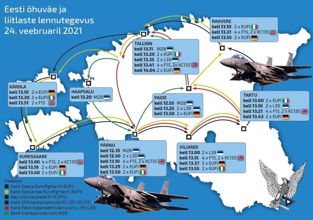 Eesti ja liitlaste lennuvahendid teevad vabariigi aastapäeval puhul ülelennu üheksa linna kohal